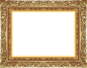 Gold photo frame with corner line floral for picture, Vector design decoration pattern style.frame floral border template,wood frame design is patterned Thai style.frame gold metal beautiful corner.