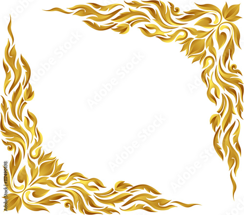 Gold photo frame with corner line floral for picture, Vector