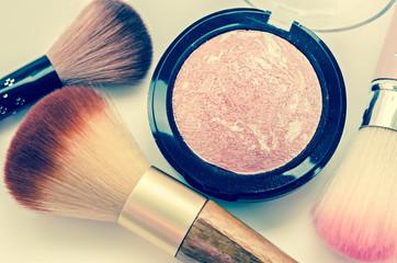 A bunch of cosmetics, Set of makeup brush.