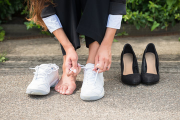 Businesswoman Changing Shoes