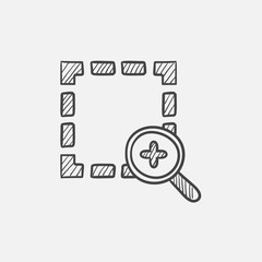 Zoom in sketch icon.