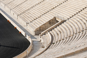 Detail from Panathenaic Olympic stadium in Athens, Greece. The stadium hosted the first modern olympic games.