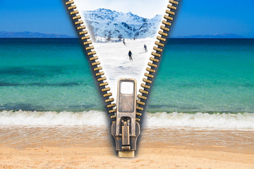 Time for change! - Abstract image of the change concept with summer beach view and winter ski resort split by an open zip.