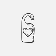 Door tag with heart sketch icon.