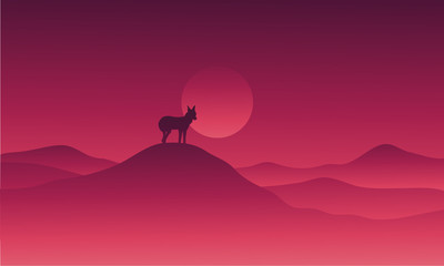 Wolf in hills alone vector illustration