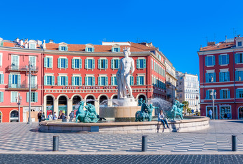 In de dag Nice Fountain du Soleil on Place Massena in Nice France