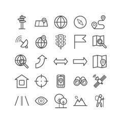 Set of outline navigation icons. Linear icons for print, web, mobile apps design