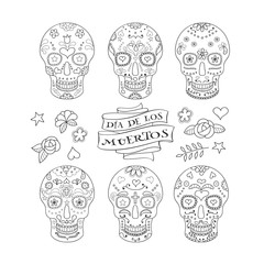 Collection of six Calavera skulls and decorative elements. Sugar skulls for Mexican Day of the Dead
