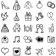 Vector Set of Black Doodle Weddings Icons