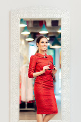 Woman in Red Suit in Fashion Store