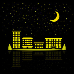 Night sky with stars, moon and silhouette of city. Night city illustration with houses, buildings, block of flats. Background for kids illustration and baby card.