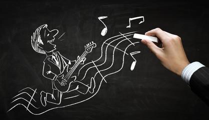 Funny musician chalk drawing . Mixed media