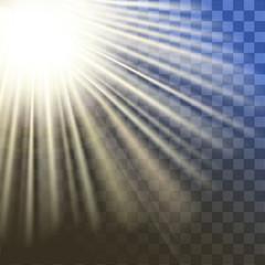 shiny sun vector, sunbeams, sunrays, Vector modern sun set on sample background. sunshine design. Yellow warm light effect, sun rays, beams on transparent background.