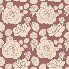 Seamless pattern with beige roses, vector illustration