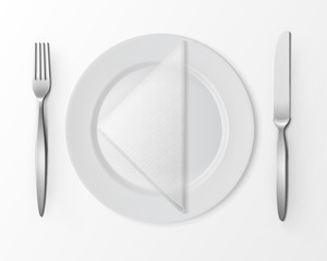 Vector White Empty Flat Round Plate with Silver Fork and Knife and White Folded Triangular Napkin Top View Isolated on White Background. Table Setting