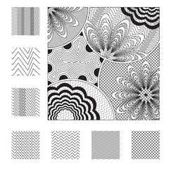 Vector design elements in zentangle style.