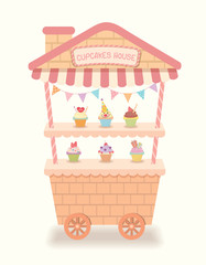 Illustration vector cute cart cupcakes  house cafe for shop.