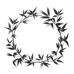 Circle frame of bamboo over white background.