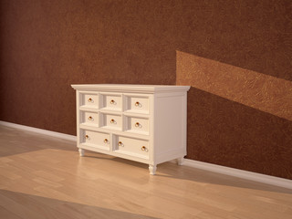 light beige chest of drawers in the interior on the background o