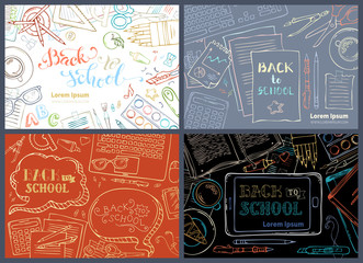 Vector set of Back to School templates.