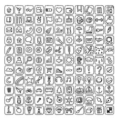 Big set of vector icons in doodle style