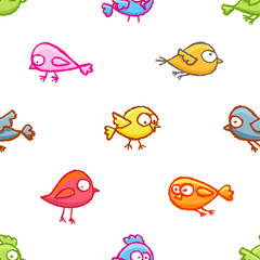 Little birds seamless pattern
