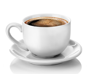 Photo sur Plexiglas Cafe white cup of coffee isolated on the white background