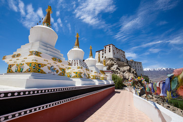 Buddhist white stupa in Thiksey Monastery in Leh , Ladakh, India.