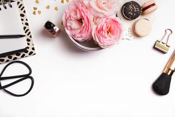Cute feminine stuff on white background, top view