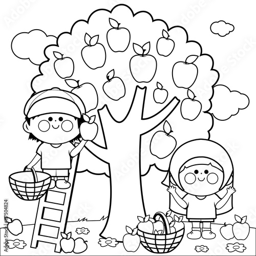 A Boy And Girl Picking Apples Under An Apple Tree Coloring Book Page