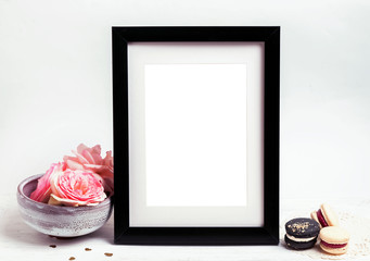 Mock up with frame and pink roses
