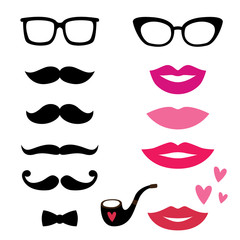 Lips and mustaches set