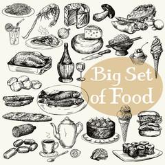 Big set of food product. Original detailed drawing.