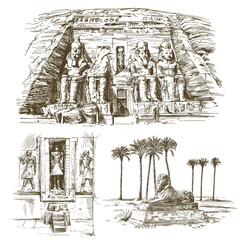 Egyptian monuments. Abu Simbel Temple of Rameses II. Hand drawn