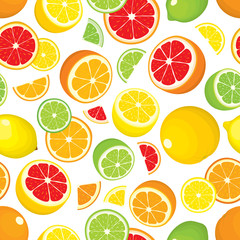 Seamless pattern of citrus fruits - lemon, orange, grapefruit, lime. Whole fruits and slices on white background. Vector illustration in colour. Cover for design.