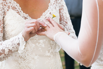 Same sex gay lesbian bride places ring on finger during wedding