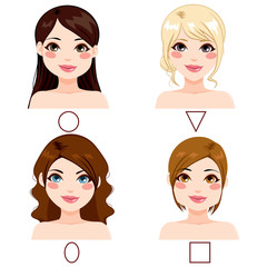 Different women with different face shape types and hairstyles