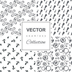 Set of black and white vector patterns with arrows