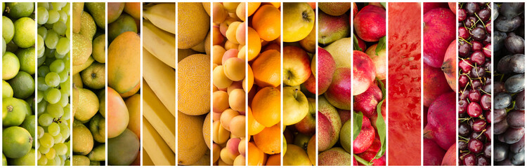 fruit collage - food background