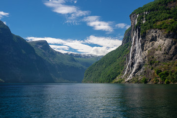 Beautiful view of Seven Sisters Waterfall, Geirangerfjord