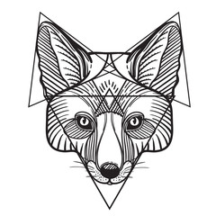 Animal fox head print for adult anti stress coloring page. Ethnic patterned ornate hand drawn vector illustration. Sketch for tattoo, poster, print or t-shirt.