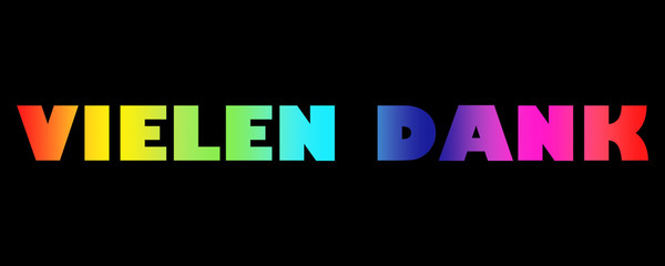 Word Vielen Dank with colorful letters