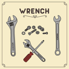 Vector set isolated wrench, adjustable wrench, screwdriver, bolts and nuts. Icon wrench/