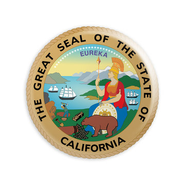 Badge US State Seal California, 3d illustration