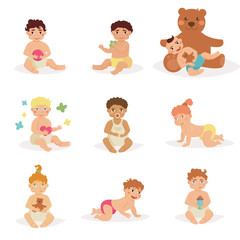 Children sit with toys