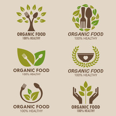 Organic food  logo or health food logo vector set design