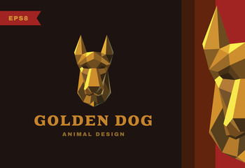Vector logo. Golden dog Polygon