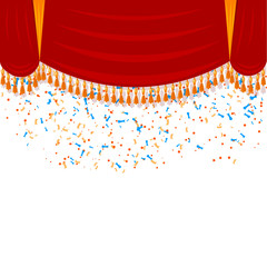 Horizontal red curtain with gold fringe and falling confetti. Th