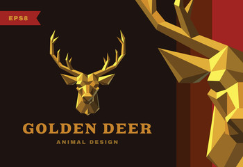 Vector logo. Golden Deer Polygon