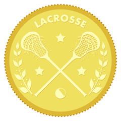 Gold medallion with the image of sticks and lacrosse ball. Color